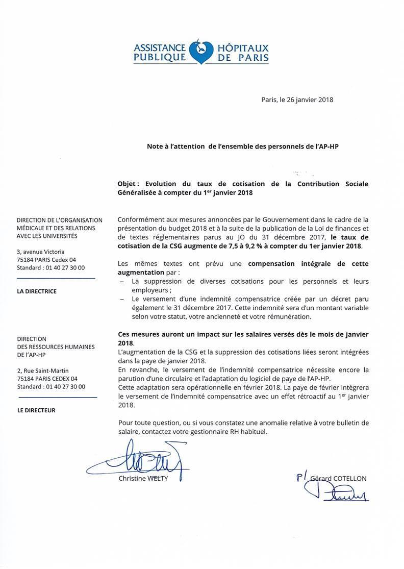 Augmentation de la csg depuis le 1er janvier 2018 cgt cochin - Grille indiciaire adjoint administratif hospitalier ...